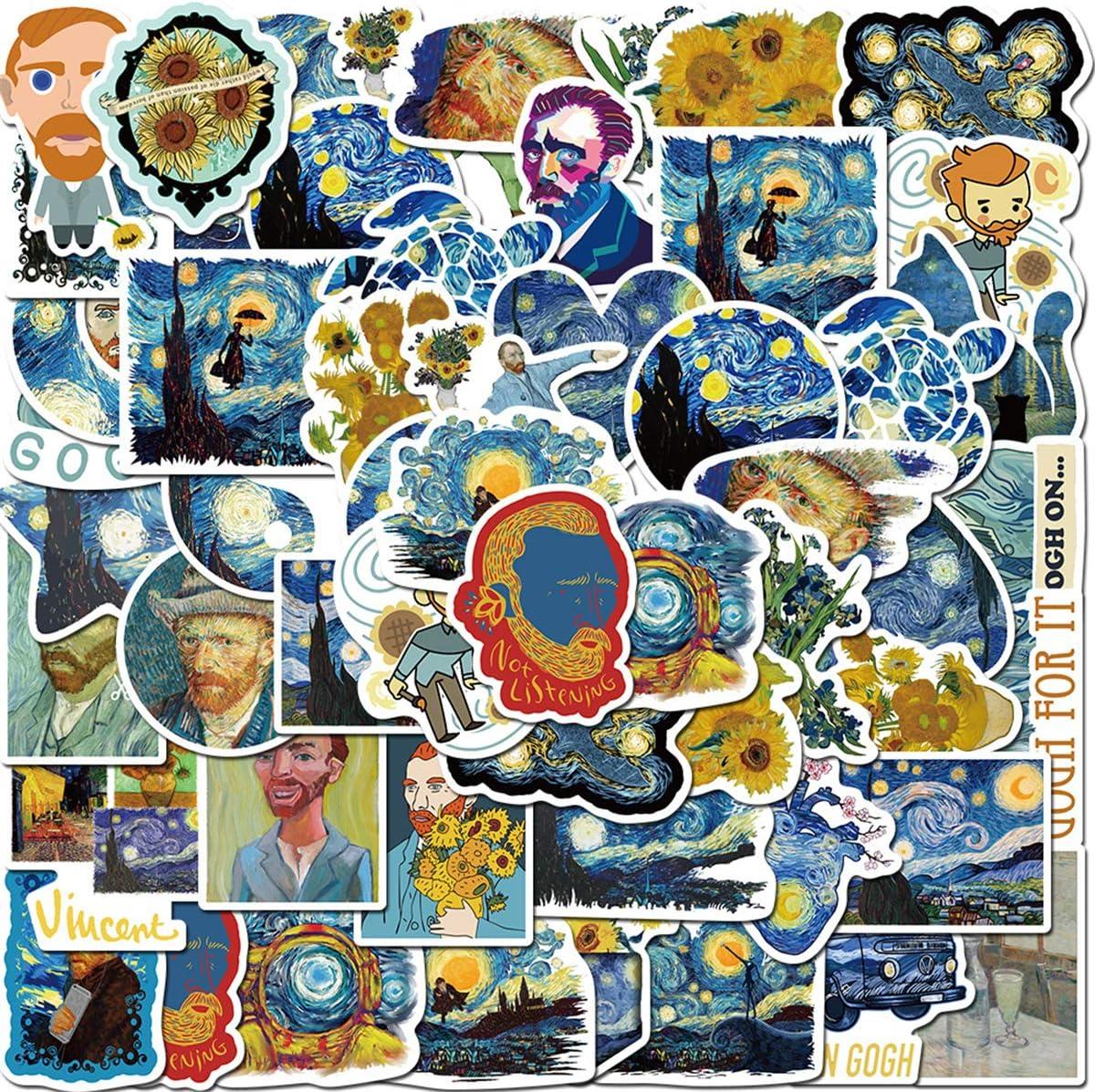 40pcs Van Gogh Stickers for Laptop Computer Stickers,Vinyl Waterproof Stickers Water Bottle Car Helmet Skateboard Luggage Bike Bumper Waterproof Graffiti Decals/Van Gogh