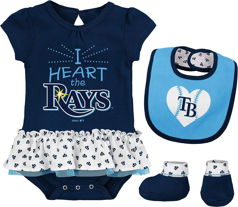 Outerstuff MLB Newborn & Infants Girls Baseball Girl Creeper, Bib, Bootie Set