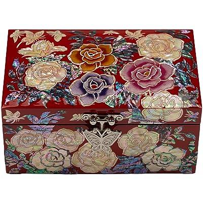Black Peony Mother of Pearl inlaid Jewelry Trinket Treasure Box Flowers Gift