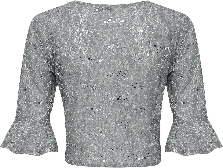 shelikes Womens Plus Size Sequin Bolero Shrug UK 12-26 Grey
