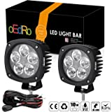 oEdRo 2PACK 4Inch 50W Round LED Work Light Spot Beam OffRoad Driving Light Fog Lights Pod Waterproof for Jeep Truck SUV Boat 4WD ATV Motorcycle with 2 Leads Wiring Harness, 3 Years Warranty