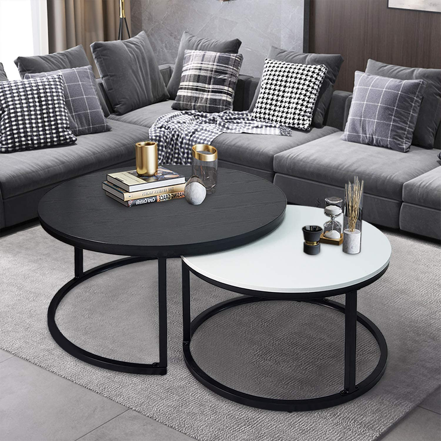 charaHOME Round Coffee Tables,2 Round Nesting Table Set Circle Coffee Table with Storage Open Shelf for Living Room Modern Minimalist Style Furniture Side End Table of Stable(Black & White)