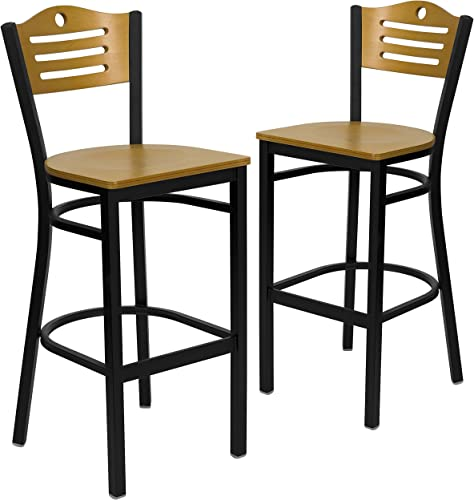Flash Furniture 2 Pk. HERCULES Series Black Slat Back Metal Restaurant Barstool – Natural Wood Back Seat