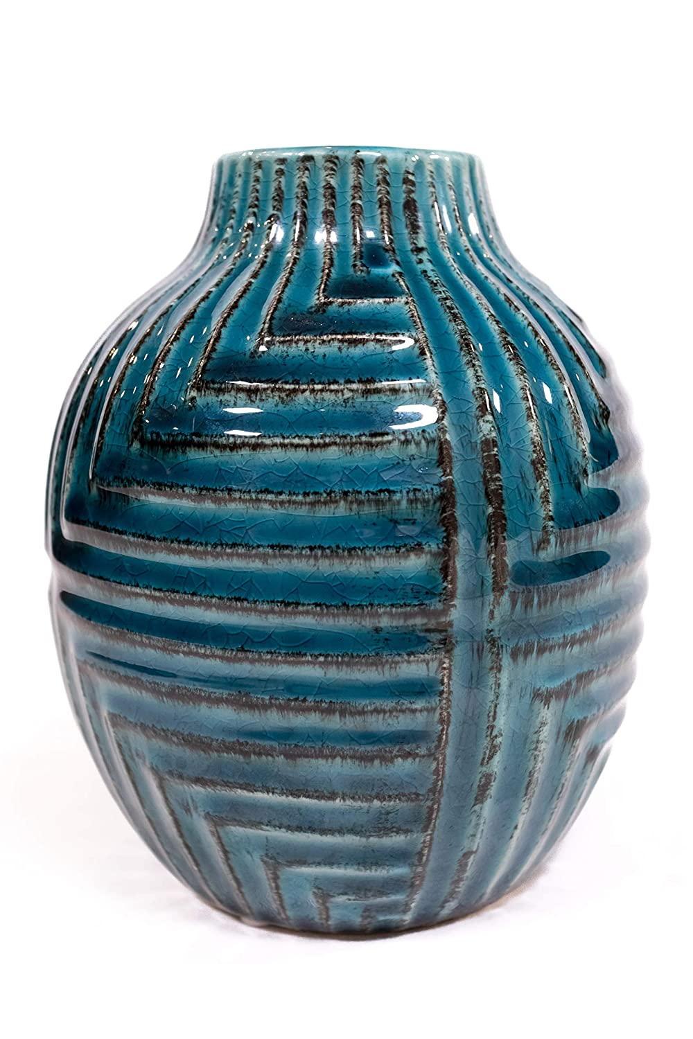 Moonkey Contemporary Ceramic Home Decor Hand Finished Colorful Vase (5W, 5D, 5.75H),Ideal Gift for Wedding, Special Occasion, Dried Floral Arrangement, Office, Spa,
