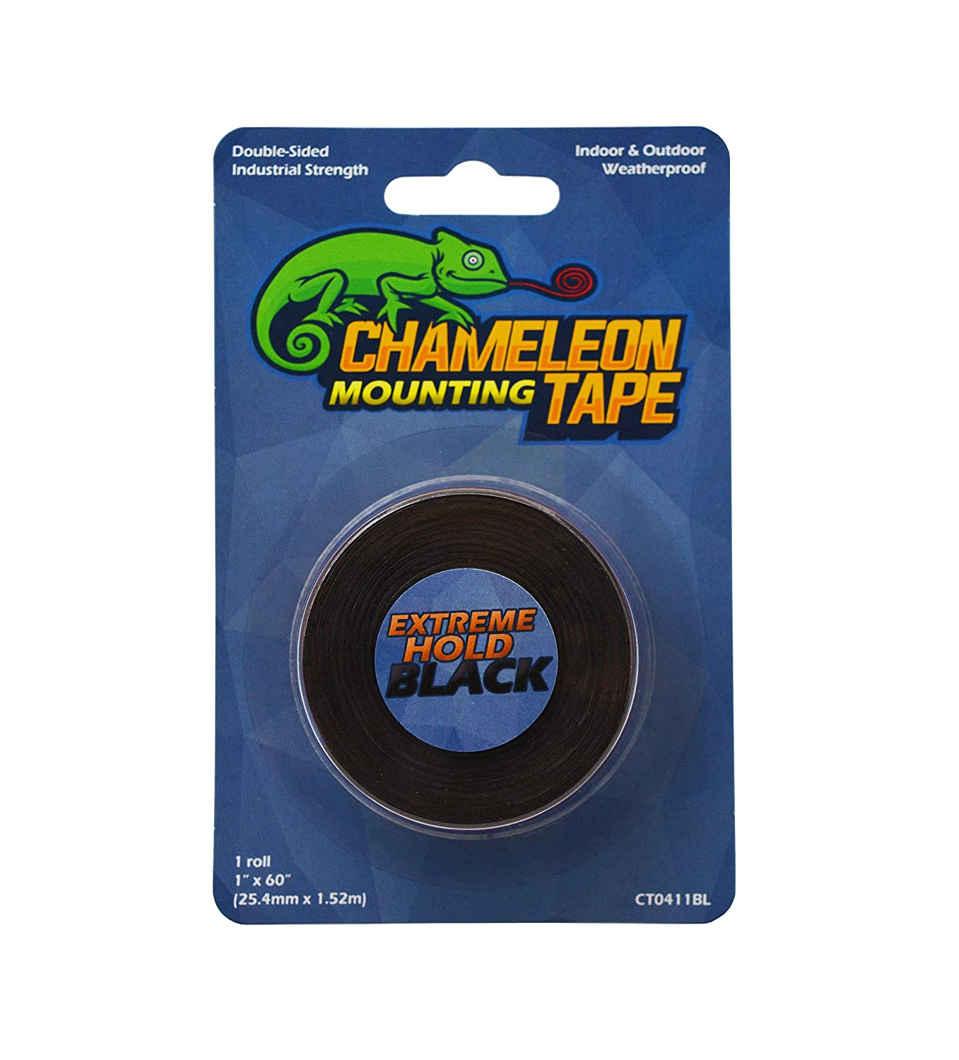 Chameleon Heavy Duty Double Sided Mounting Tape, 1 inch x 60 inches, Black