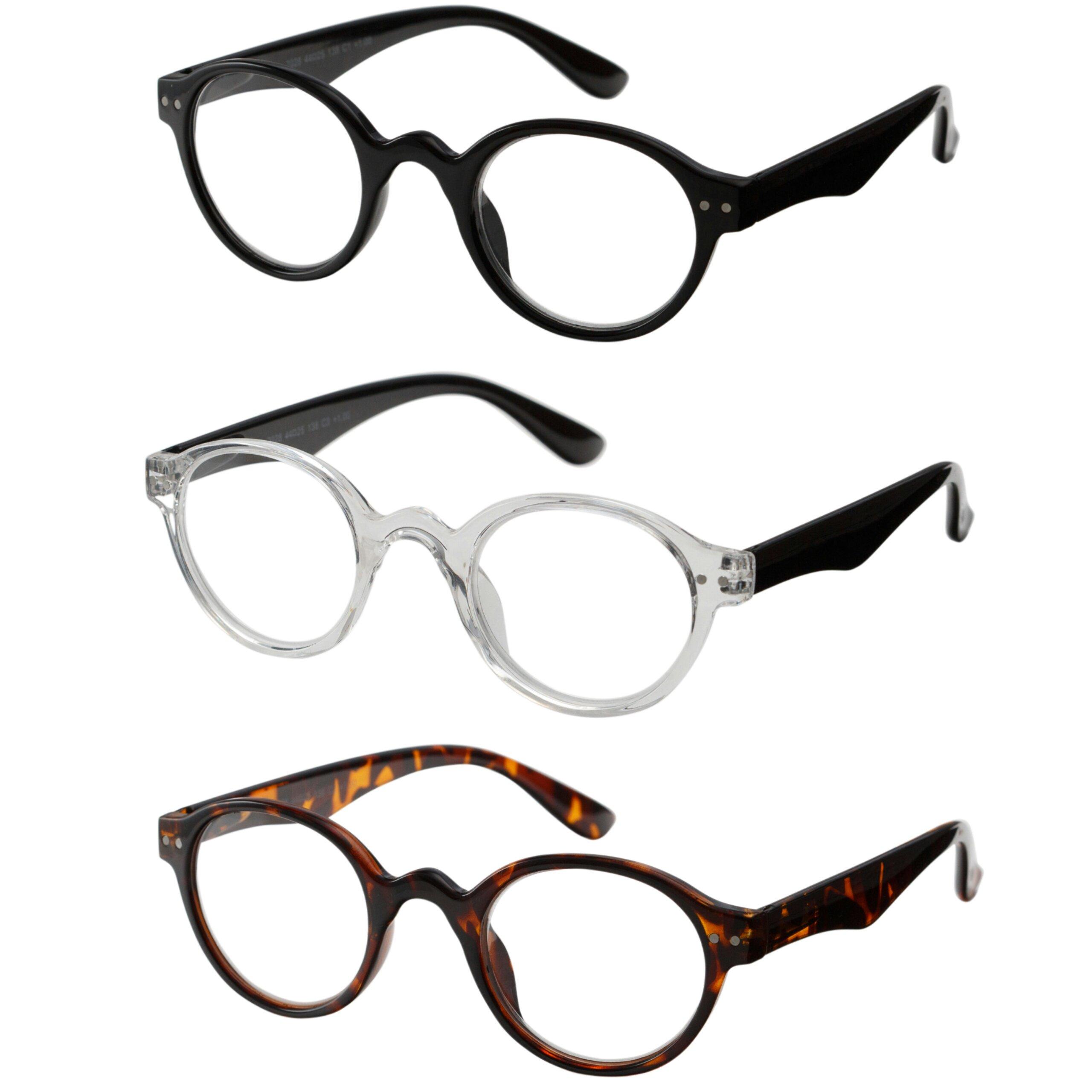 Reading Glasses 3 Pair Spring Hinge Professer Readers for Men and Women Fashion Glasses for Reading +1.5
