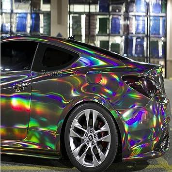 Silber Hochglanz Luftkanäle 16€//m² Autofolie Chrom LASER Hologram Schwarz