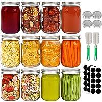 Mason Jar 12 tarros de vidrio con tapas, juego de 12 tarros de boca regular, ideales para avena, regalos de boda…
