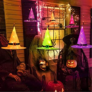 SIBOSUN Halloween Decorations LED Witch Hats, 6Pcs Hanging Lighted Witch Hat Glowing Outdoor Indoor Halloween Decor for Tree, Porch, Yard, Garden Home