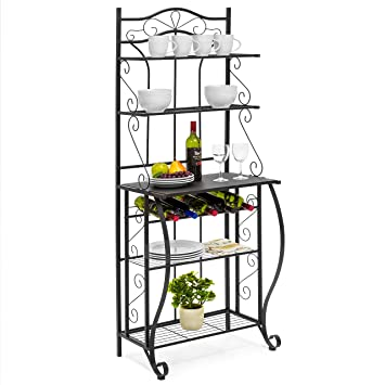 Best Choice Products Multiuse 5 Tier Black Metal Kitchen Bakers Rack