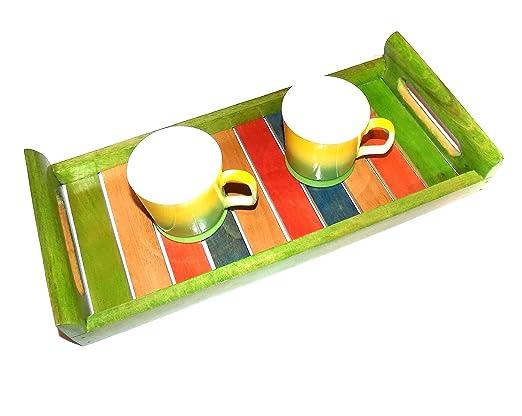 Bandeja de madera multicolor, azul, amarillo, verde, rojo, plato ...