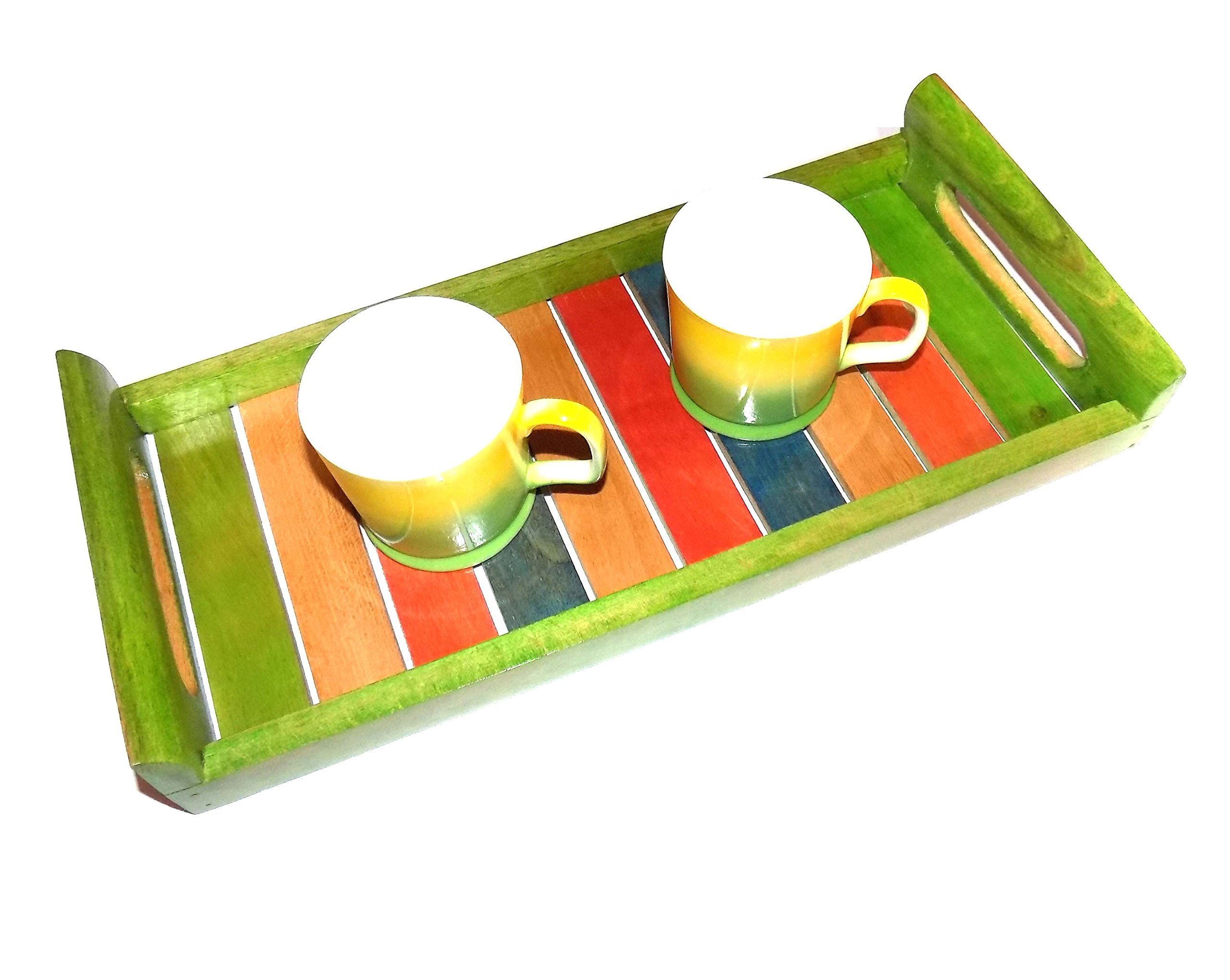 Multicoloured Wooden Tray Blue,yellow green red -Serving Tray Platter Breakfast Tray Decorative Tray Table Top Bed by naaz wood arts