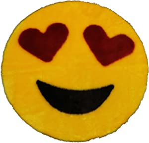 """Emoji Rug - Soft and Cute - Made in France - Perfect Emoji Mat Fit for Any Room - Dorm Bed Bathroom Kids Room Emojis (Heart Eyes) Non-Slip and Machine Washable Faux Fur 2' 2"""""""