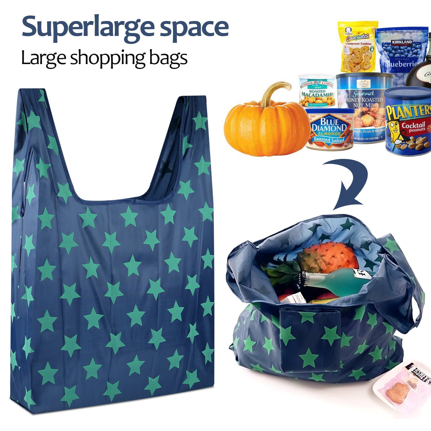 Lonew Folding Reusable Grocery Shopping Bags (6 Pack) - Waterproof Lightweight Large Capacity Portable Tote Bag Environmentally, Durable, Can Withstand Heavy Goods, Machine Washable by Lonew (Image #4)