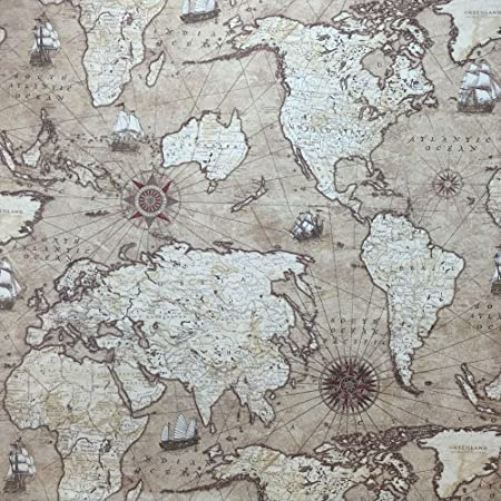 Stunning panama designer vintage cotton linen look fabric in vintage stunning panama designer vintage cotton linen look fabric in vintage world map design printed for curtains gumiabroncs Gallery