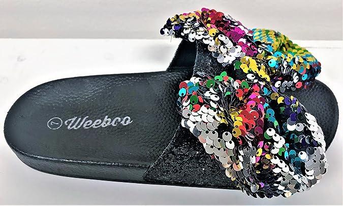 5e2e5f636910d Weboo Kelly-01 Open Toe Slides Bow Sequin Glitter Sparkle Flip Flops  Sandals Multi Color (11