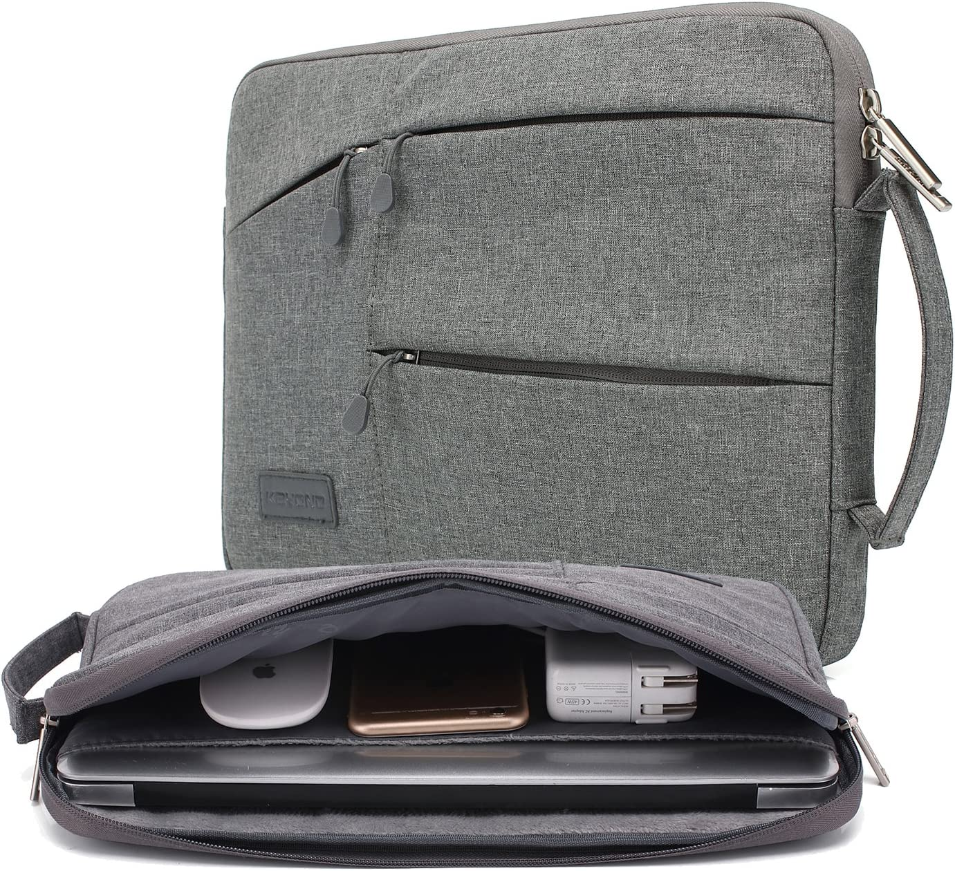 kayond Nylon Fabric 13.3 Inch Laptop Sleeve-Gray