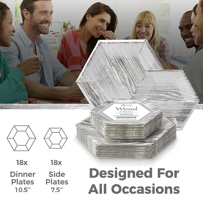 Silver Spoons VAJILLA para Fiestas DESECHABLE DE 36 Piezas | 18 Platos Grandes | 18 Platos auxiliares | Platos de cartón Resistente | para Bodas y Comidas ...