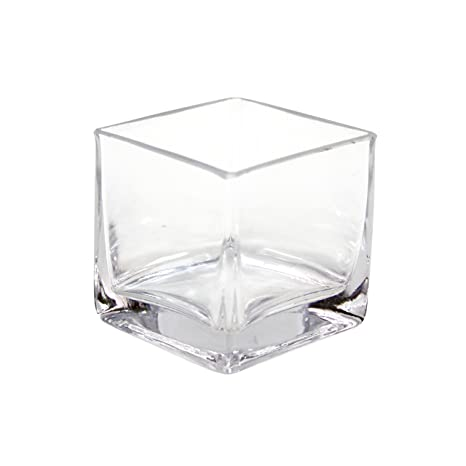 Amazon Koyal Wholesale 404342 12 Pack Cube Square Glass Vases