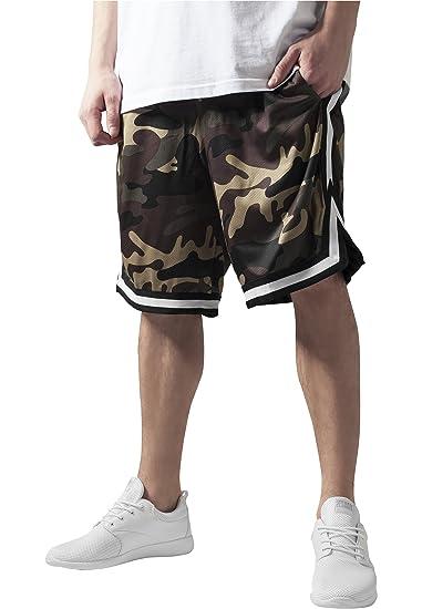 3c9c4ab99e Urban Classic Men's Camo Stripes Mesh Sports Shorts, Multicoloured (Woodcamo /Blk/Wht
