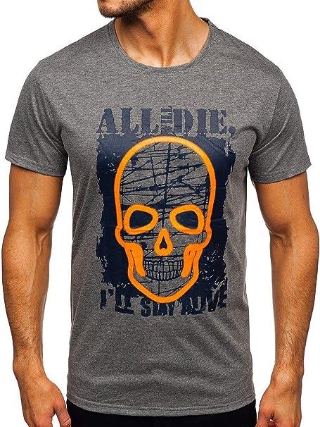 T-Shirt Tee Kurzarm Rundhals Motiv Slim Fit Classic Aufdruck Herren BOLF Sport