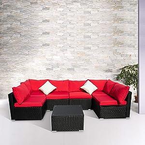 Wonlink Patio Sofa Rattan Garden Sectional,Wicker Patio Conversation Furniture Sectional,Red 7 PCS