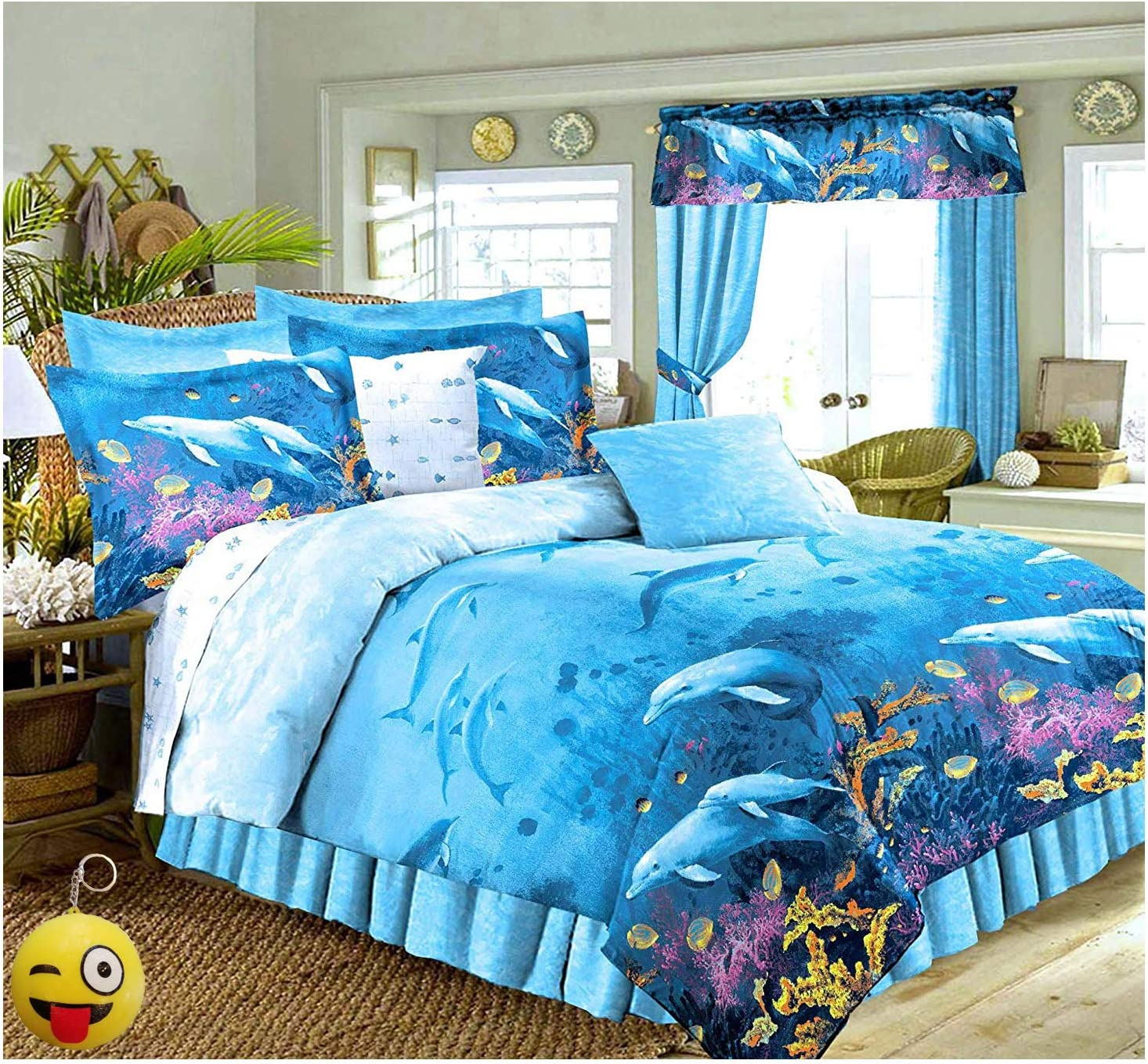 """DOLPHINS Cove Sea Life Blue Comforter & Sheet Set (6pc Twin Size 66"""" x 86"""")"""