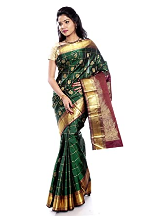 90611a666f8db Amazon.com  Mandakini — Indian Women s Kanchipuram - Handloom - Pure Zari   Pure  Silk Saree (Dark green) (MK210)  Clothing