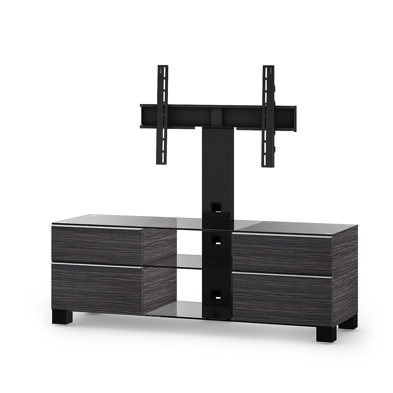 Sonorous MD 8240-C-HBLK-AMZ Fernseher-Möbel mit Klarglas (Aluminium Hochglanz, Korpus Holzdekor) schwarz