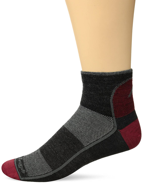 Darn Tough Vermont Mens 1//4 Merino Wool Ultra-Light Athletic Socks