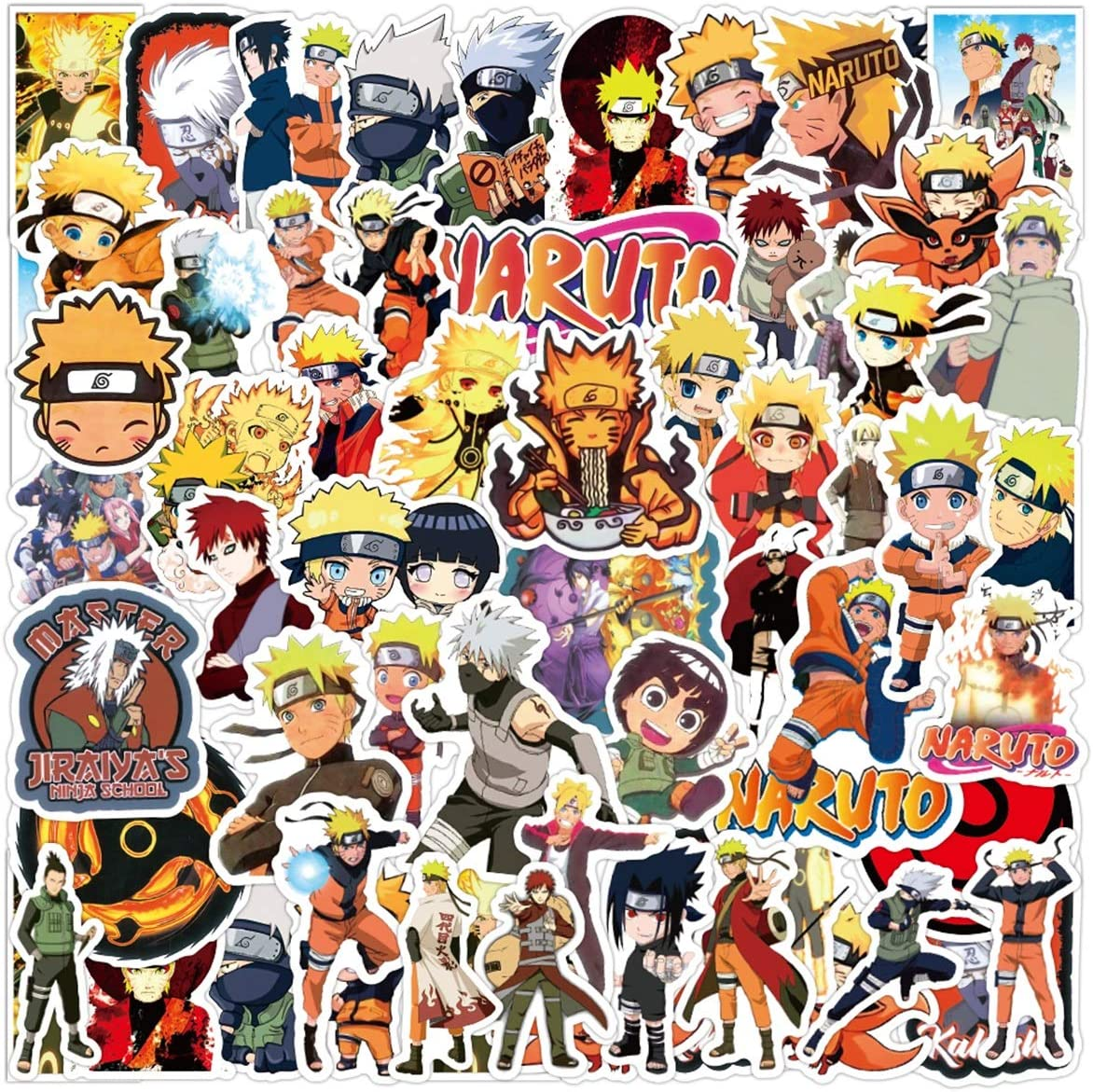 Naruto Stickers Japanese Uzumaki Sasuke Anime Stickers 50PCS Waterproof Vinyl Stickers for Laptop, Water Bottles, Skateboard, Phone, Scrapbook, Car, Guitar, Kakashi Computer Decals Graffiti Patches