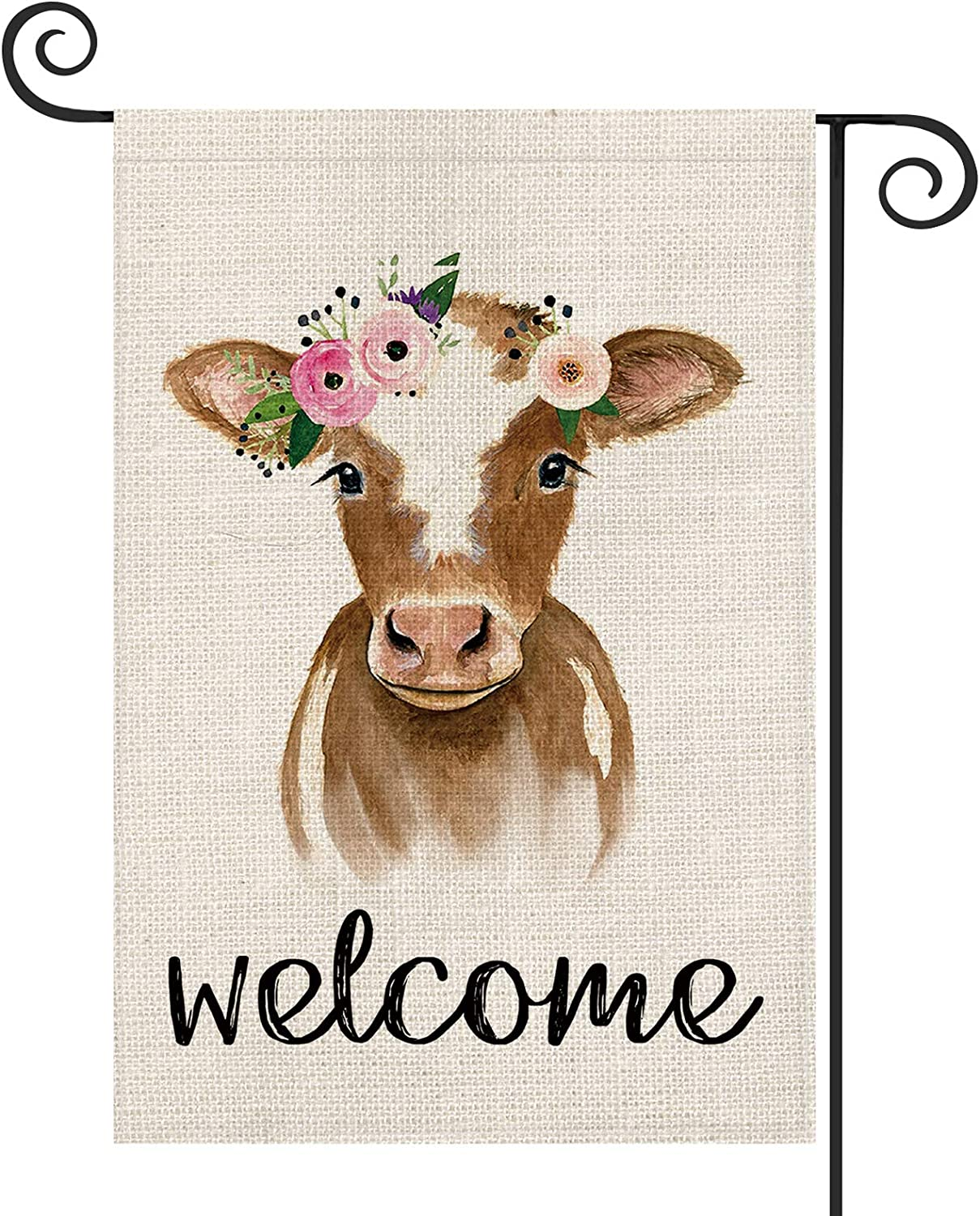 AVOIN Welcome Cattle Garden Flag Vertical Double Sided, Flower Farmhouse Flag Yard Outdoor Decoration 12.5 x 18 Inch