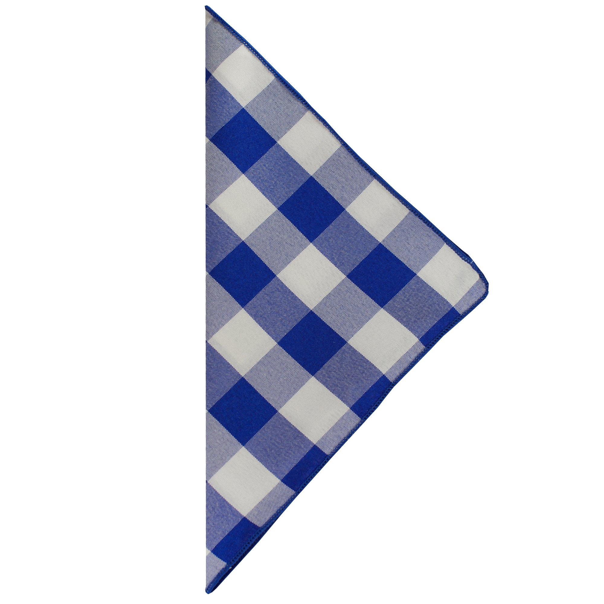 Ultimate Textile -10 Dozen- 10 x 10-Inch Polyester Checkered Cloth Cocktail Napkins, Royal and White