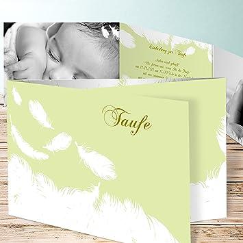 Einladung Taufe Zwillinge, Feder 10 Karten, C6 Doppelklappkarte 148x105  Inkl. Weiße Umschläge,