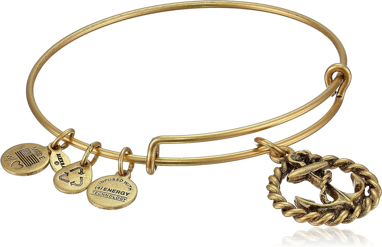 "Alex and Ani Bangle Bar Nautical Rafaelian Gold-Tone Expandable Bracelet, 7.75"""