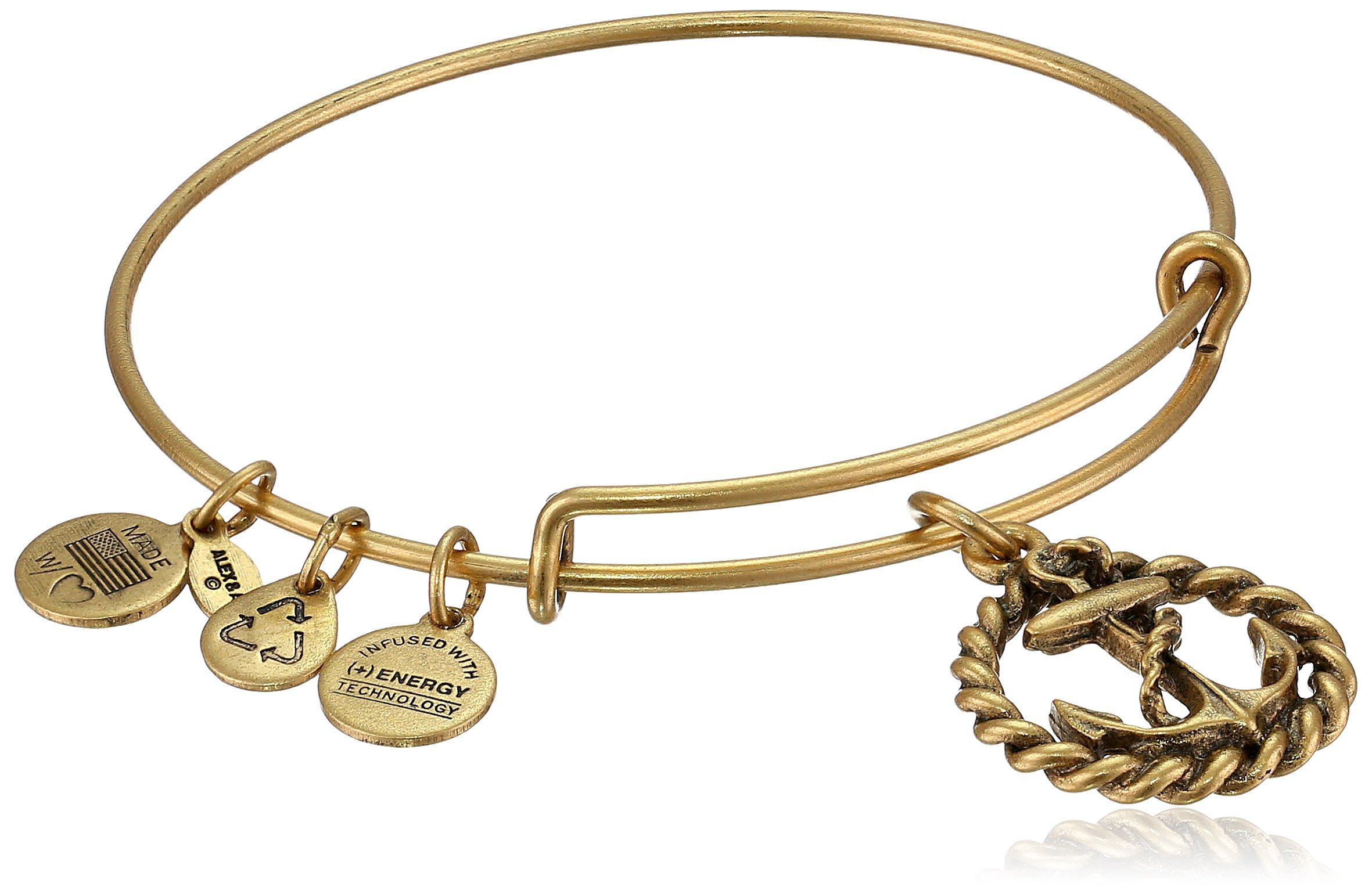 Alex and Ani Bangle Bar Nautical Rafaelian Gold-Tone Expandable Bracelet, 7.75''
