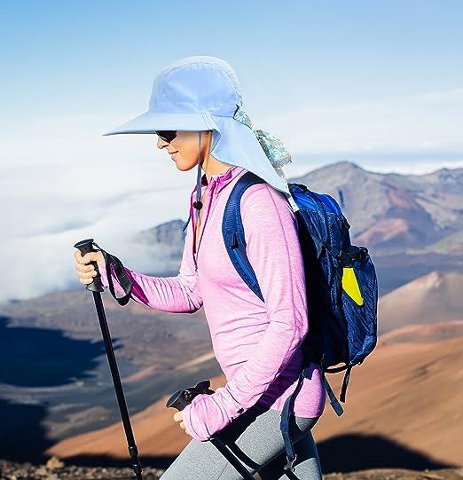 5a8fef27ef2 Womens Sun Hats Neck Flap Large Brim UV Protection Foldable Fishing Hiking  Cap Blue at Amazon Women s Clothing store
