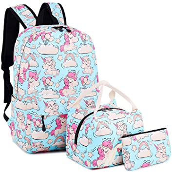 Amazon.com   BLUBOON Backpack for School Girls Teens Bookbag Set Kids School  Bag Lunch Tote Bag Pencil Case (Blue - Pink Unicorn Set)   Kids  Backpacks babbf4aa46