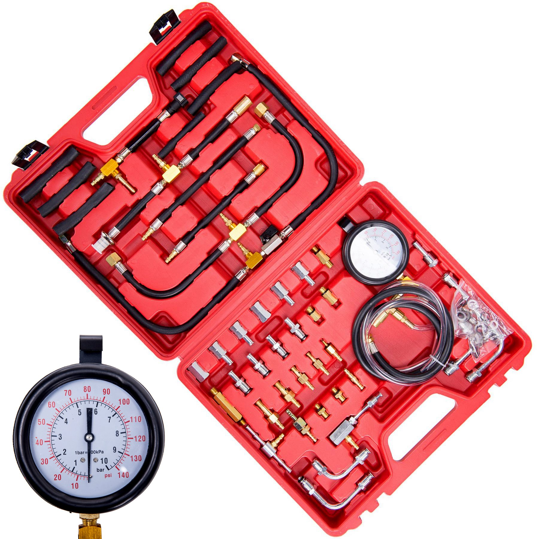 OrionMotorTech Professional Fuel Injection Pressure Tester Gauge Tool Kit with Complate Adapter Fitting Set,Dual Scale for Max 140 PSI (10 Bar)