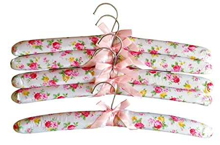 5 Stuck Kleiderbugel Stoff Gepolstert 38cm Mit Satin Schleife Blumen