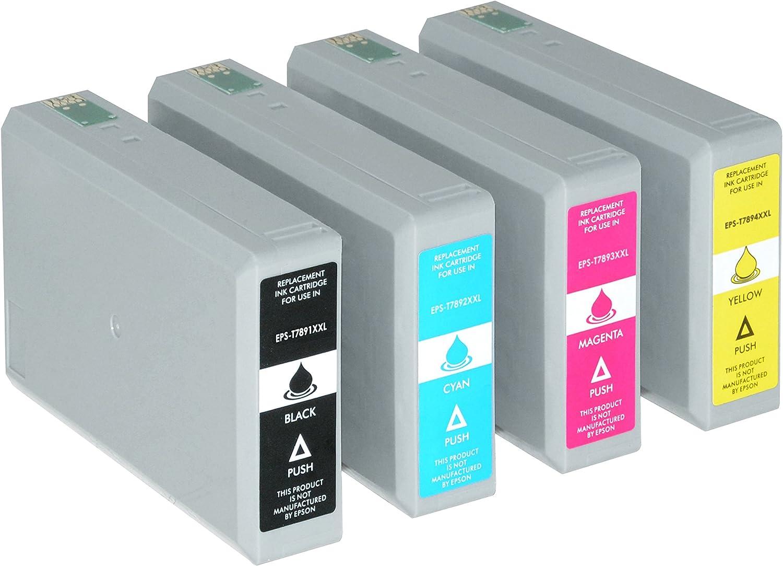 4 Tintenpatronen Xxl Kompatibel Für Epson Workforce Pro Wf 5110 5190 Dw 5620 5690 Dwf C13 T7891 T7892 T7893 T7894 4010 Bürobedarf Schreibwaren