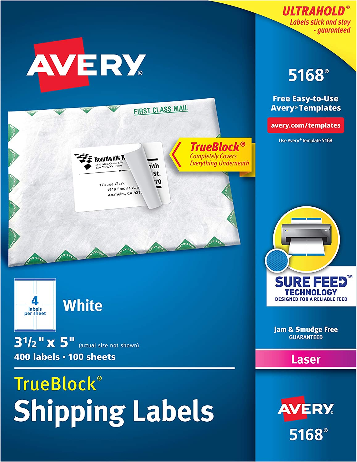 Avery Shipping Address Labels Laser Printers 400 Labels 3 1 2 X 5 Permanent Adhesive Trueblock 5168