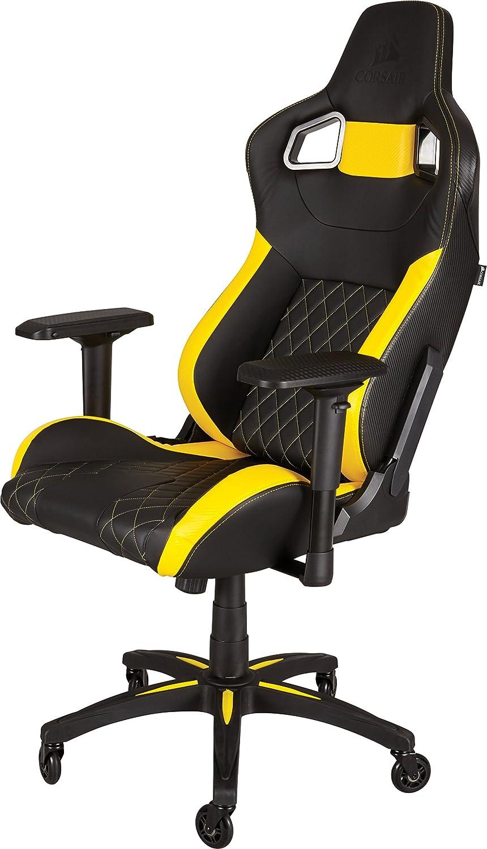 Corsair T1 Race - Silla para juegos acolchada, con respaldo alto, color negro y amarillo (CF-9010005-WW): Amazon.es: Informática