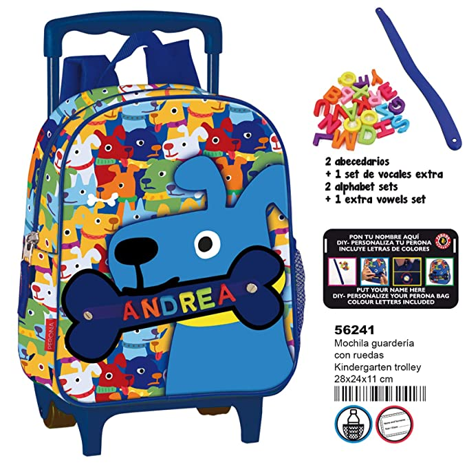 Amazon.com | Montichelvo Kindergarten Trolley Pr My Little Bone Travel Tote, 28 cm, Multicolour | Travel Totes
