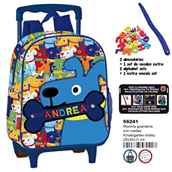 Amazon.com | Montichelvo Kindergarten Trolley Pr My Little Bone Travel Tote, 28 cm, Multicolour | Travel Totes