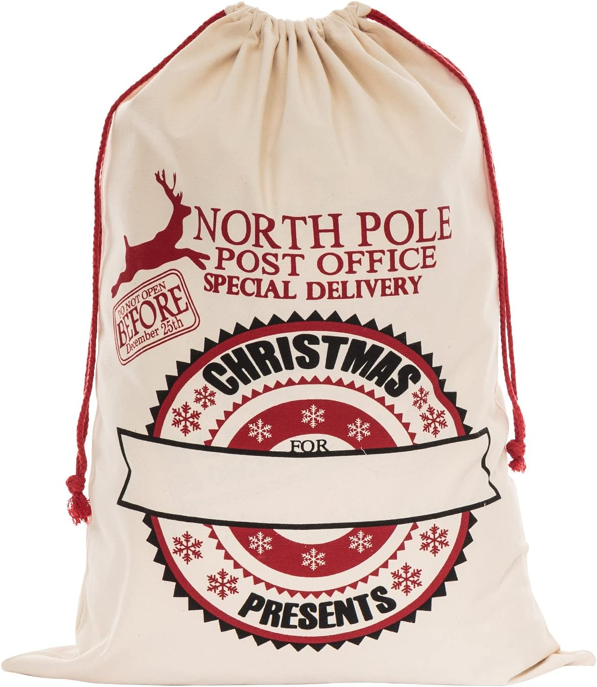 Christmas Gift Bag Drawstring Natural Cotton Sack Reindeer Design 5 Sizes Kids