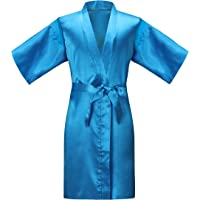 ALHAVONE Girl's Kid's Silky Satin Solid Color Short Kimono Robe for Wedding Birthday Party Spa