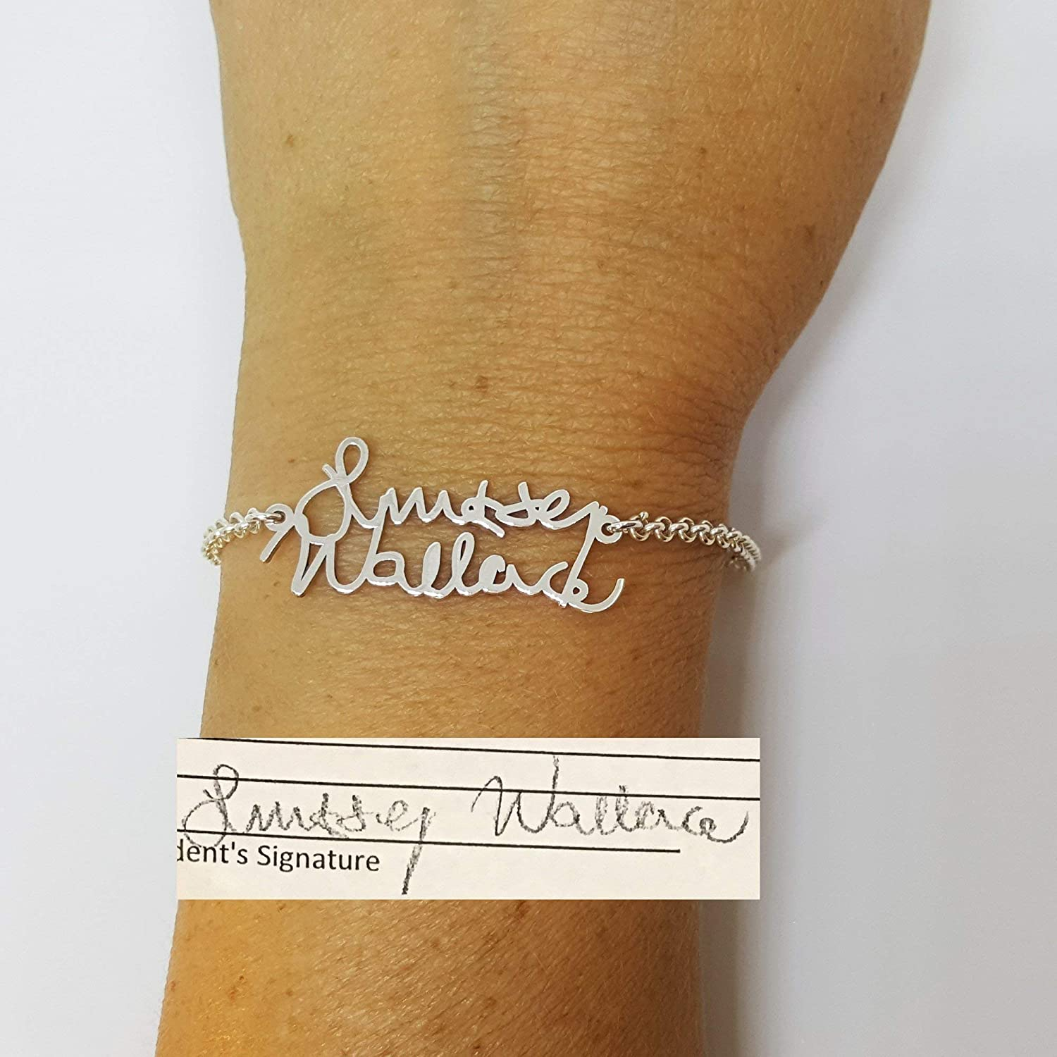 Personalized Actual Handwriting Memorial Jewelry Word Bracelet Sterling Silver Signature Bracelet