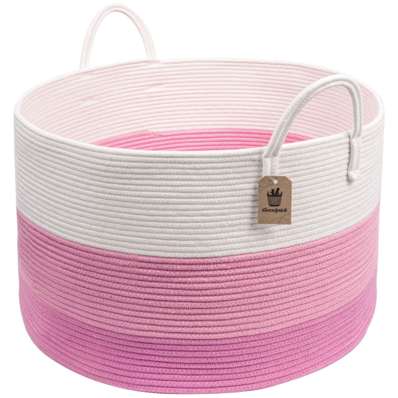 INDRESSME XXXLarge Pink Woven Rope Basket | Wide 20'' x 13.3'' Blanket Storage Basket with Long Handles Decorative Clothes Hamper Basket | Extra Large Baskets for Blankets Stuffed Animal Storage Basket