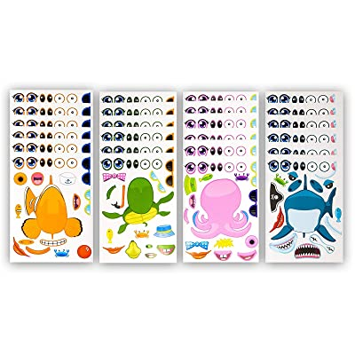 48 Pack Make-A-Sea Sticker Sheets - Stickers Of All Your Kids Favorite Sea Life - Fun Craft Project For Children - Perfect Birthday Party Favors For Mermaid Themed Parties - M & M Products Online: Kitchen & Dining